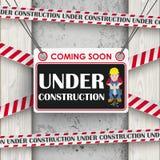 Under Construction Concrete Wood Worker Stock Images