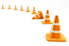 Under Construction Cone. 3d illustration of under construction cone in line Stock Photos