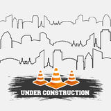 Under construction cones road with building thin line Royalty Free Stock Photo