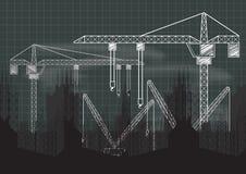 Under Construction crane chalkboard blueprint. Under Construction sign crane gears and cogs chalkboard blueprint on blackboard Stock Image