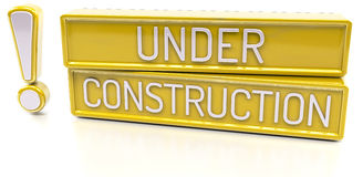 Under Construction - 3d banner,  on white background Stock Images