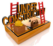 Under Construction 3D Render. In the design of the information related to the reconstruction of something Stock Photo