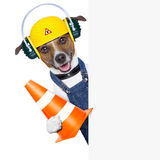 Under construction dog Stock Images