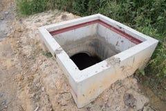 Under construction drain. Close up on Manhole Water,under construction drain Stock Image