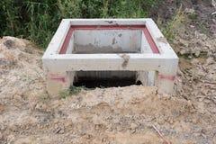 Under Construction drain. Close up on Manhole Water,under Construction drain Royalty Free Stock Image
