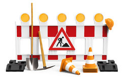 Under Construction, equipment for building worker. Street barrier with shovel, traffic sign, traffic cone and safety helmet, isolated on white background 3D Stock Image
