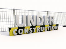 Under construction and fence Stock Images