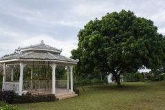 Under construction gazebo on the beautiful garden. Backyard views of Bandungan Hills Hotel and Resort on Semarang, Indonesia royalty free stock photos