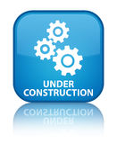 Under construction (gears icon) special cyan blue square button Stock Image
