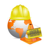 Under construction globe and helmet Stock Photography