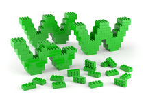 Under construction with green blocks. Www of green blocks under construction royalty free illustration