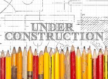 Under Construction Pencils Sign Royalty Free Stock Image