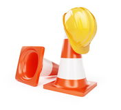 Under construction hardhat. On a white background Royalty Free Stock Photography