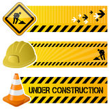 Under Construction Horizontal Banners. A collection of three under construction horizontal banners with a traffic sign, a hard hat and a traffic cone on yellow Stock Illustration