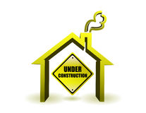 Under construction house illustration Royalty Free Stock Images