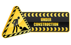 Under construction icon and warning Stock Photos
