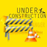 Under Construction. Illustration of under construction background with road barrier Royalty Free Stock Photo