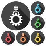 Under construction illustration gear design icons set with long shadow Stock Photography