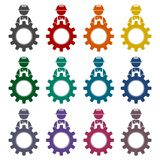 Under construction illustration gear design icons set Royalty Free Stock Images