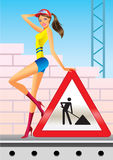 Under construction for internet web page stock illustration