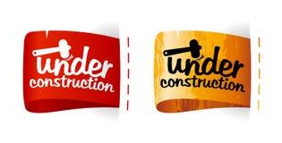 Under construction labels. Under construction color labels set Stock Images