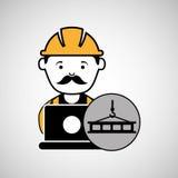 Under construction laptop worker crane Stock Photos