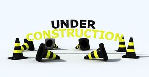 Under construction logo. Cone traffic and 3d write- 3d rendering Stock Photography