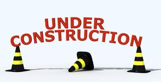 Under construction logo. Cone traffic yellow and black with 3d write- 3d rendering Royalty Free Stock Photos