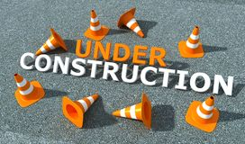 Under construction logo. Traffic con on asphalt and 3d-write Royalty Free Stock Image