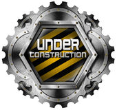 Under Construction - Metal Icon with Gears Stock Images