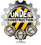 Under Construction - Metal Icon with Gears royalty free stock photos