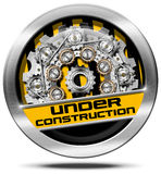 Under Construction - Metal Icon with Gears Royalty Free Stock Image