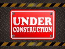 UNDER CONSTRUCTION WITH METAL ISOLATED. Vector icon or symbol sign Royalty Free Stock Photo