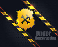 Under Construction Metallic Background Vector Desi. Vector design. This file also was saved EPS10 that you can modify it Stock Photography