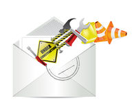 Under construction notice email envelope Royalty Free Stock Photos