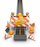 Under Construction Of Road 3D. Stock Images