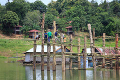 Under construction old wooden bridge Mon in Sangkhla Buri Royalty Free Stock Image