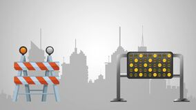 Under construction over cityscape HD definition. Under construction with barrier and sign High definition colorful scenes stock video