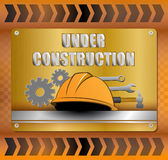 Under construction over yellow background  illustration Stock Photo