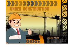 Under construction over yellow background  illustration Royalty Free Stock Photography