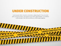 Under construction page. Caution yellow tape construct warning line background sign web page security caution vector illustration
