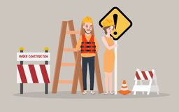 Under construction page man woman worker on construction site close road Royalty Free Stock Images