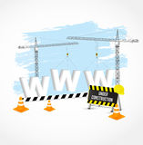 Under construction page. Vector illustration. Under construction page with cranes, cones and white www sign.  Vector illustration Stock Images