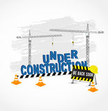 Under construction page for web site. Under construction page for web site with cranes and cones . Vector illustration royalty free illustration