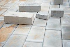 Under construction platform from brick Royalty Free Stock Photos