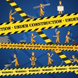 Under Construction Poster. With workmen and yellow restriction line vector illustration Stock Photography