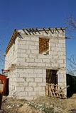 Under construction private house of white brick Stock Photo