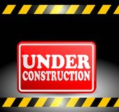 Under construction progress red plat sign Royalty Free Stock Photo