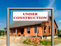 Under construction, real estate sign. Royalty Free Stock Image