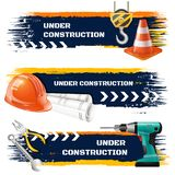 Under Construction Realistic Banners stock illustration